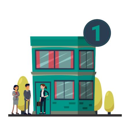 Illustration of a small office building with a few people standing outside