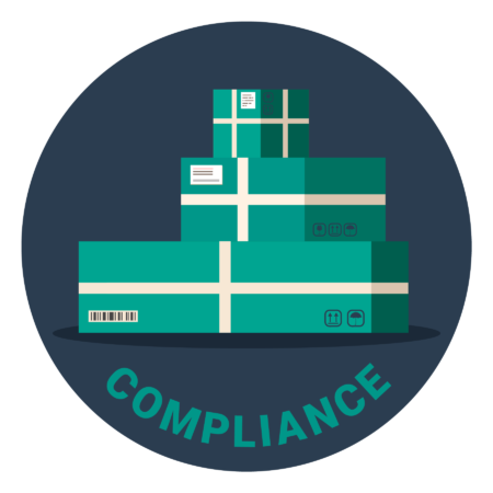 """Illustration of three green boxes. Under the illustration, it says """"compliance"""""""