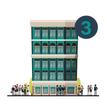 Illustration of a small skyscraper, with about 20 people standing outside in suits