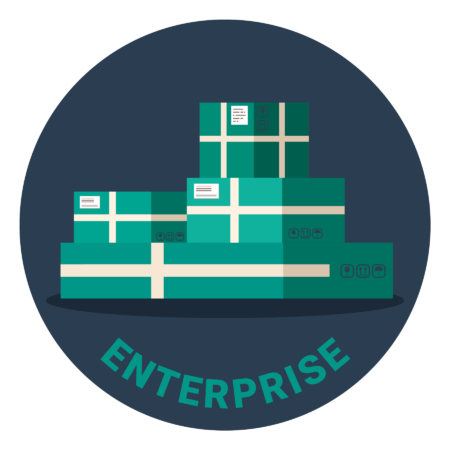 """Four green boxes stacked on each other, with the word """"Enterprise"""" under it"""
