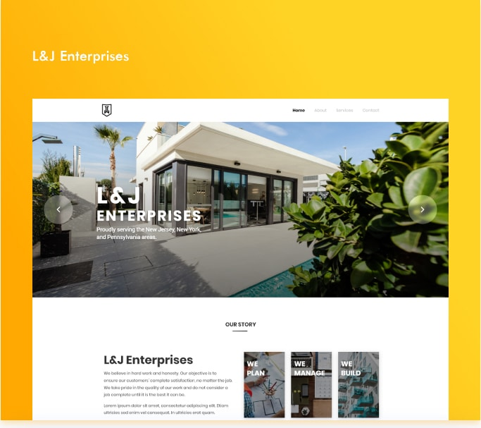 Screenshot of the website for L&J Enterprises