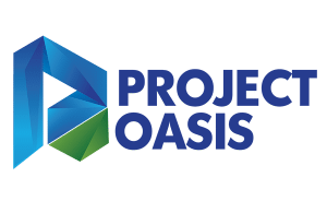 Blue and green logo of Project Oasis