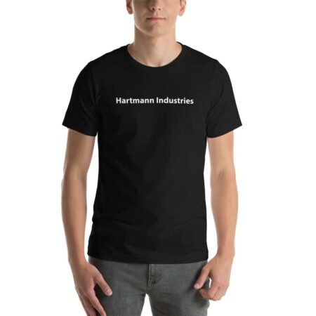"Photo of a man wearing a black t-shirt that says, in white, ""Hartmann Industries"""