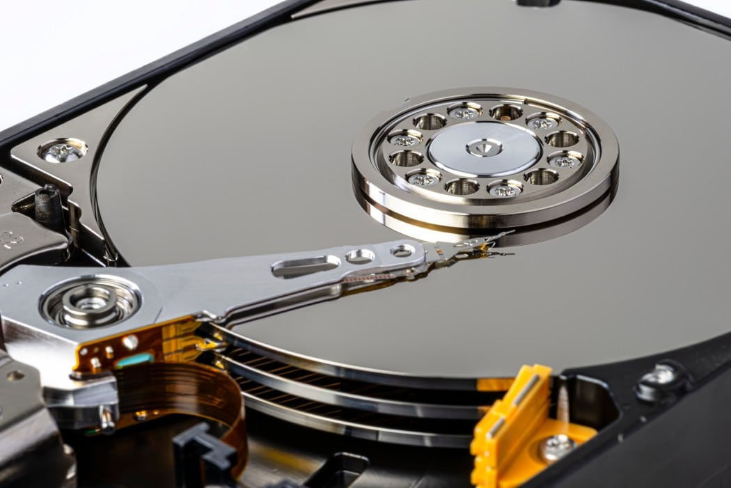 An image of an opened hard drive