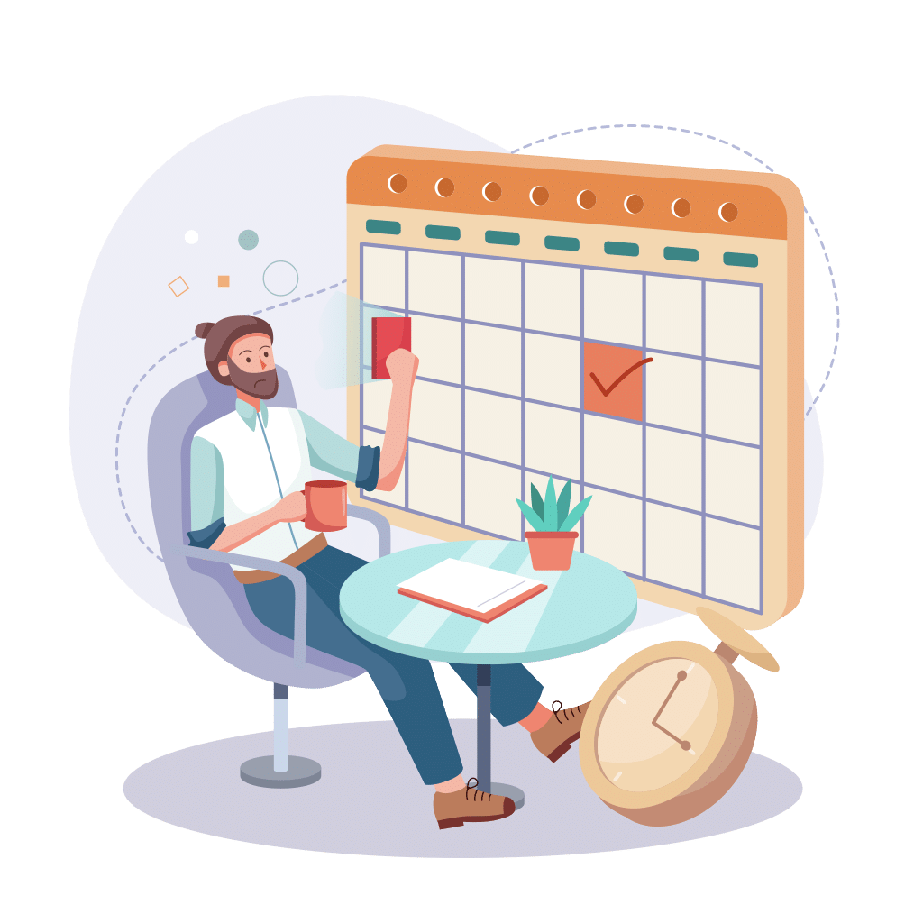 Illustration of a man filling his calendar