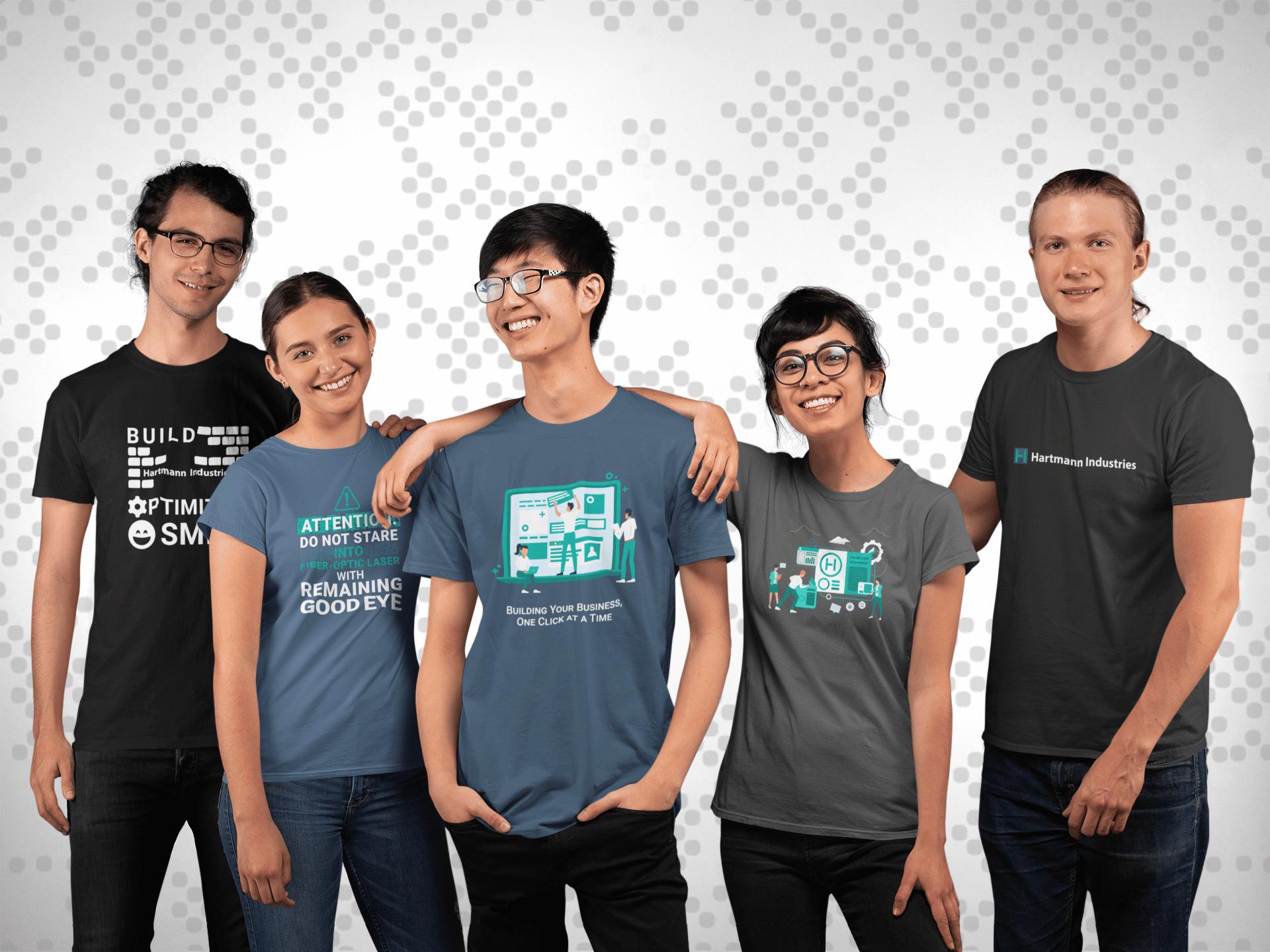 Five people wearing Hartmann Industries t-shirts